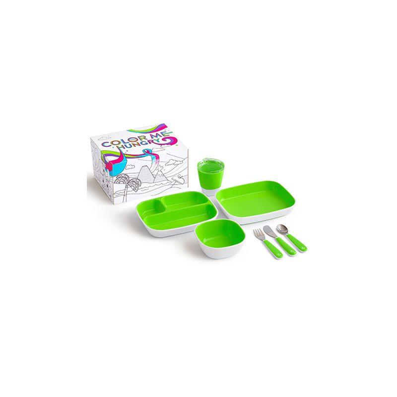 Pack vajilla infantil 7 piezas Splash con caja para pintar - varios colores -