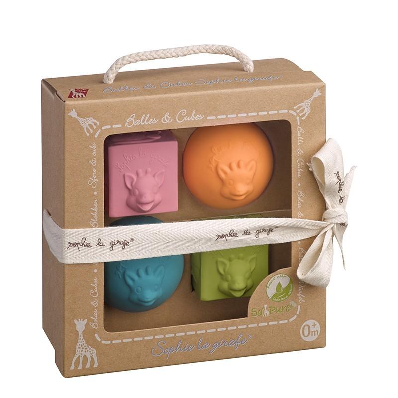 Conjunto 2 bolas y 2 cubos Jirafa Sophie