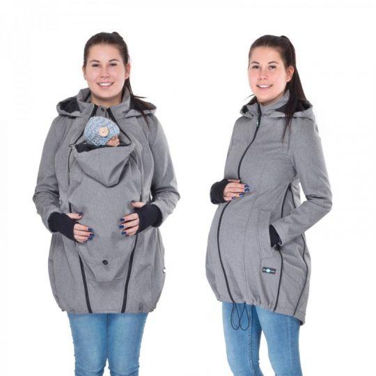 Abrigo de porteo largo 3 en 1 Softshell - Gray Melange -
