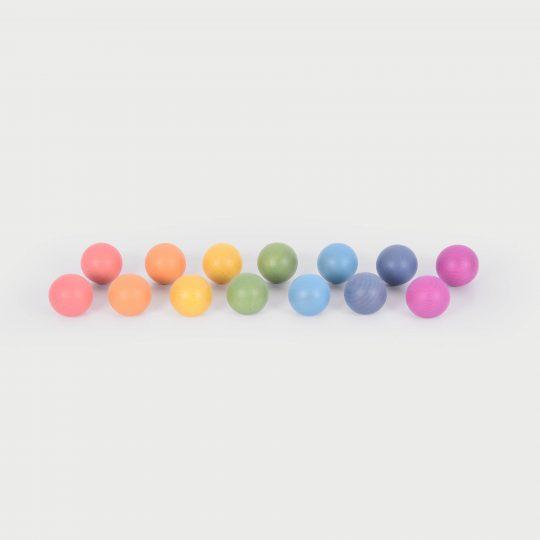 Bolas de madera arcoiris