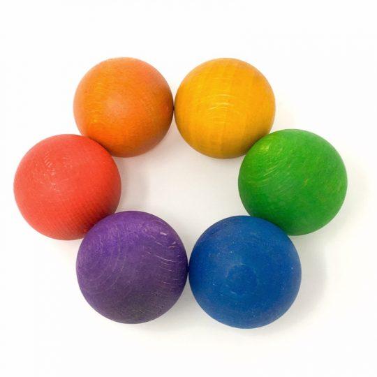 6 Bolas de madera Arco Iris