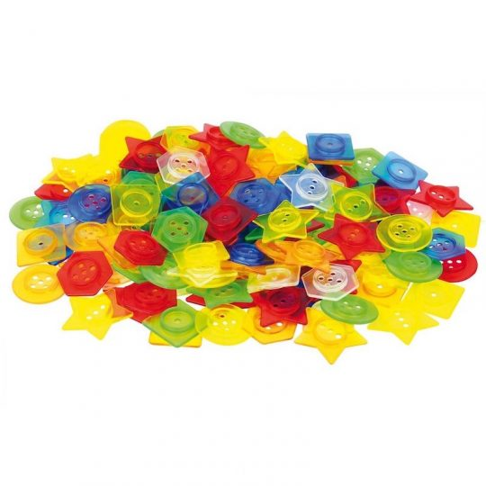 Botones ensartables translúcidos (144 unidades + 12 cordones)