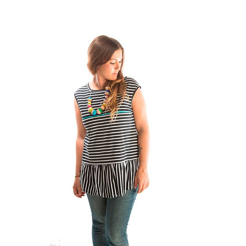 Camiseta premamá y lactancia - Blue Zipper Stripes -