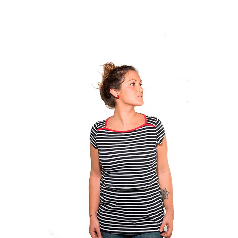 Camiseta premamá y lactancia - Red Stripes -