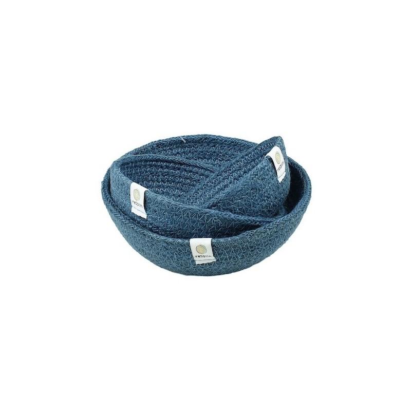 Cesto de los tesoros Yute Mini Set de 3 Azul Respiin