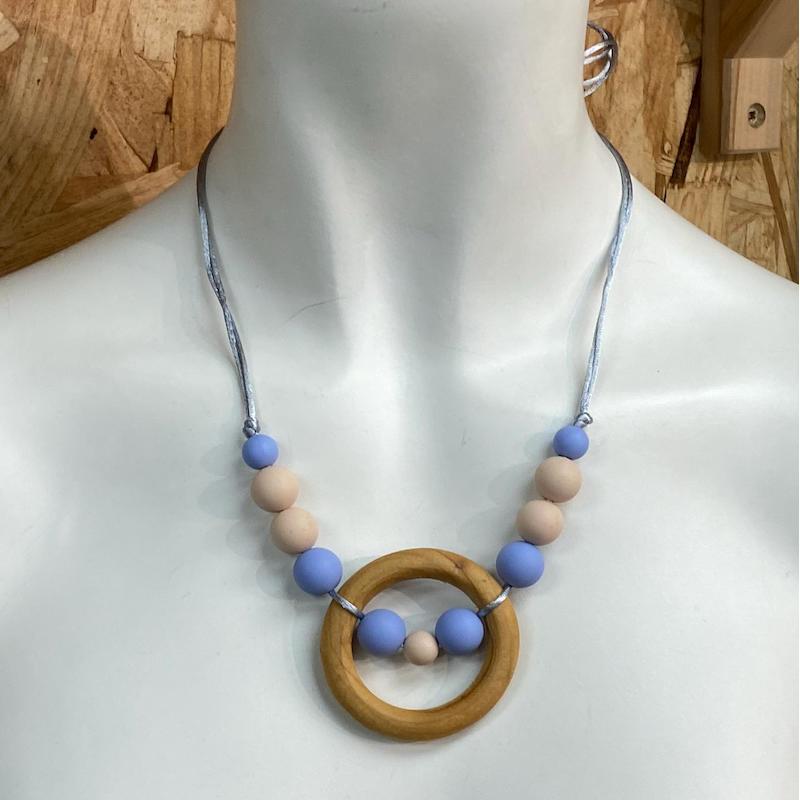Collar de lactancia Sweet Lullaby Azul/Rosa con Aro
