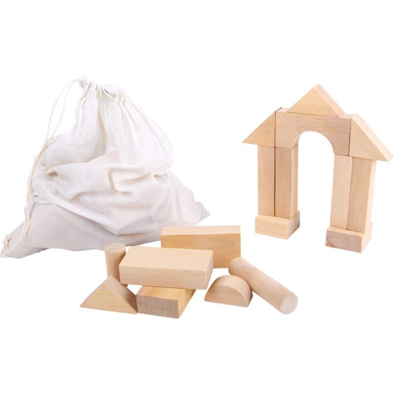 Saco de 50 piezas grandes de construcciones de madera natural, Small Foot