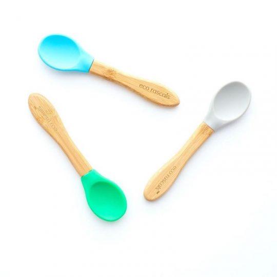 Cucharas Bamboo con punta de silicona EcoRascals - Gris, azul y verde - (Pack de 3)