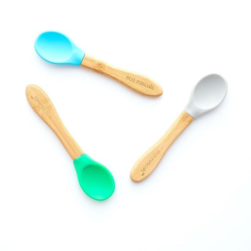Cucharas Bamboo con punta de silicona EcoRascals Gris, azul, verde