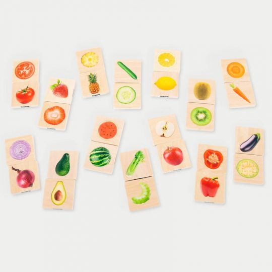 Dominó de madera Frutas y Verduras Reales (enteras y cortadas)