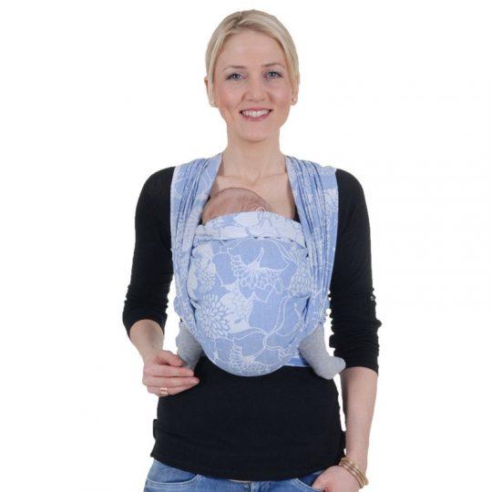 Fular tejido Hoppediz con Lino Florencia Azul