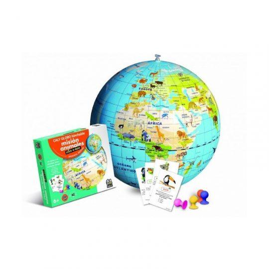 Bola del Mundo Hinchable 42cm - animales - + juego de cartas