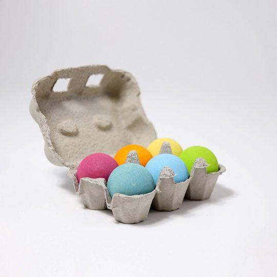 Bolas de madera colores pastel (juego de 6)