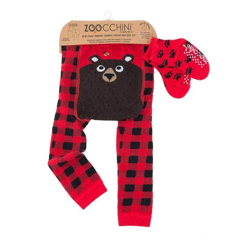 Leggings con calcetines de Zoocchini, Bosley el Oso