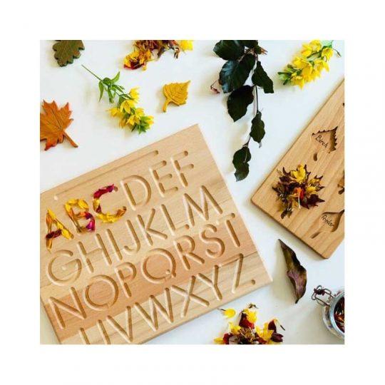 Tablero de trazado con hendidura Montessori - Letras -