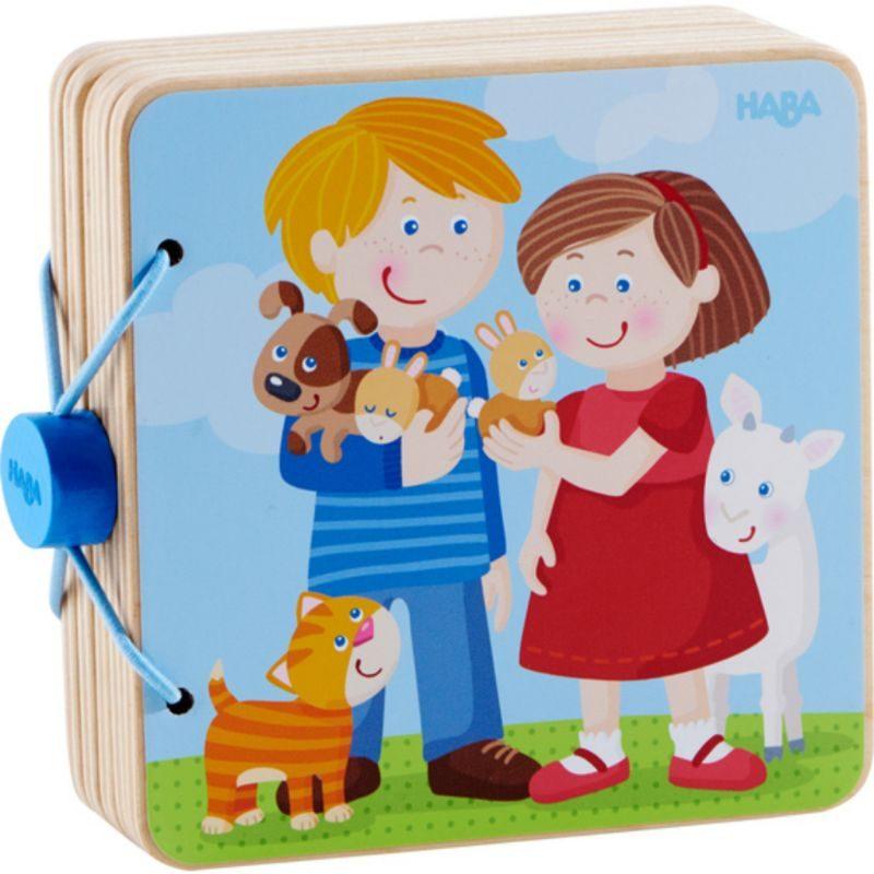Libro de madera para bebés - Crías de animales