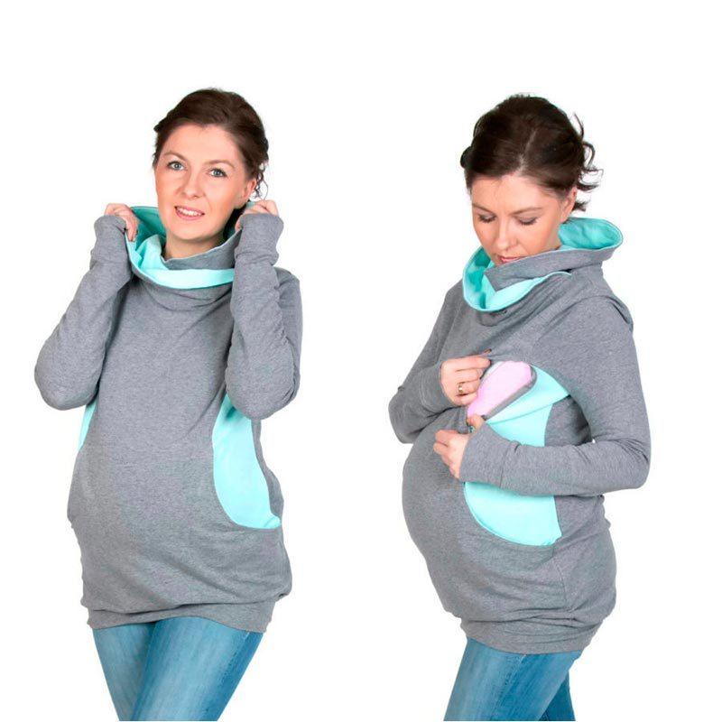 Sudadera embarazo/lactancia Lily - Grey/Mint-