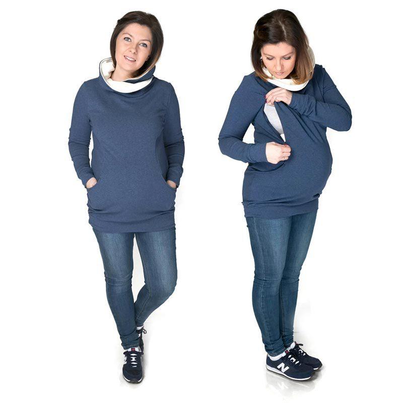 Sudadera embarazo/lactancia Lily - Jeans/Crudo -