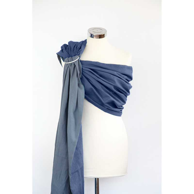 Bandolera de gasa reversible - Mountain Grey + Blue -