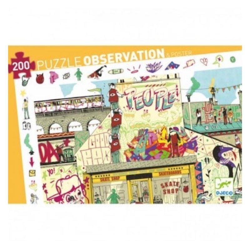 Puzzle observación 200 piezas, Street Art, de Djeco