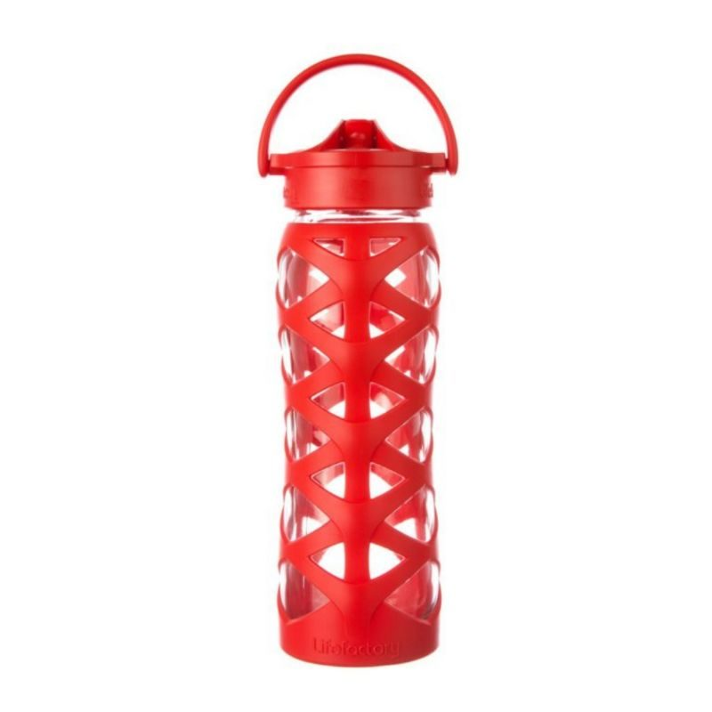 Botella 650 ml Lifefactory Axis Straw Cap - Charged red - Monetes