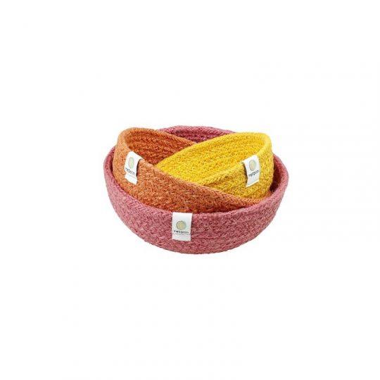 Cesto de los Tesoros Yute Mini - Set 3 Rojo -