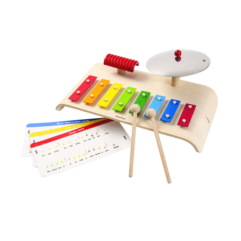 Set-musical-madera-juguete-PlanToys-Monetes