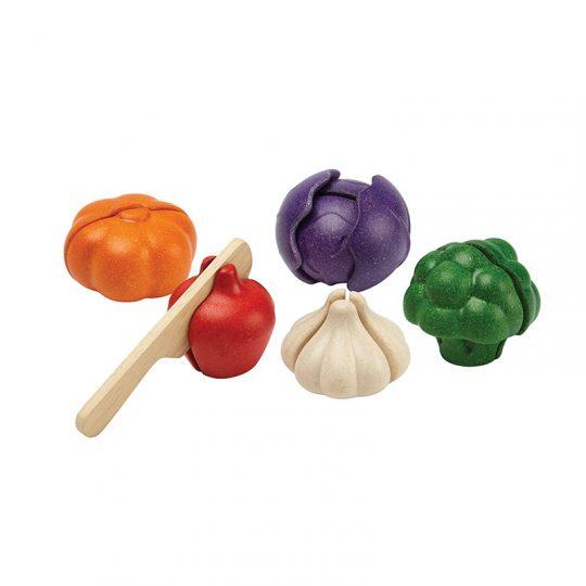 Set vegetales 5 colores para cortar Plan Toys