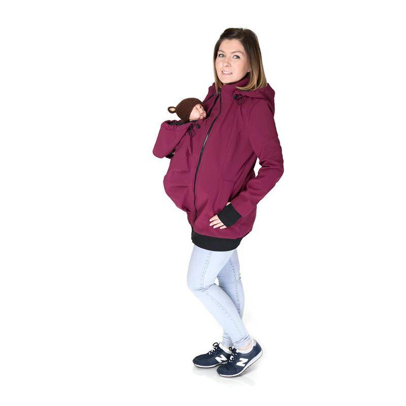Abrigo de porteo y embarazo 3 en 1. Everest Softshell - Plum -