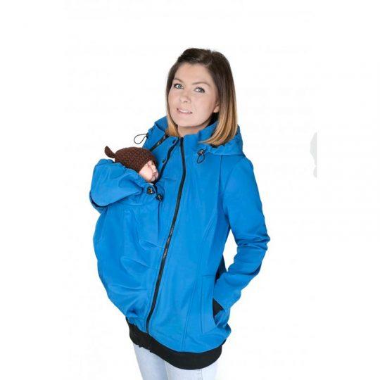 Abrigo de porteo 5 en 1. Softshell - CornFlower Blue -