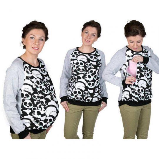 Sudadera embarazo/lactancia Charlie - Osos Panda -