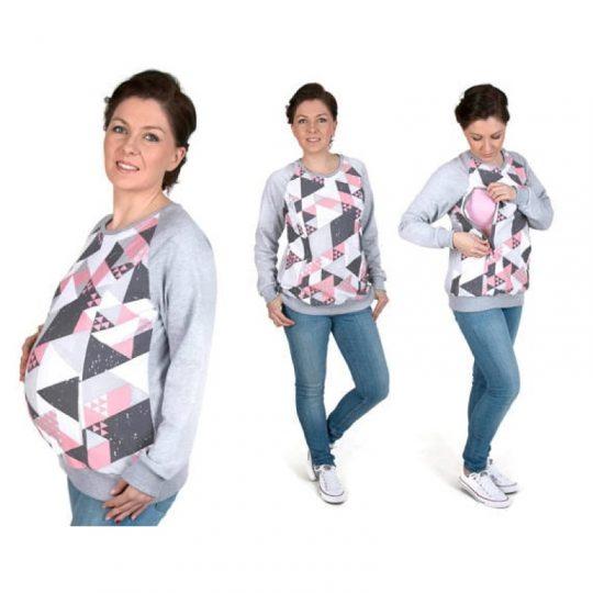 Sudadera embarazo/lactancia Charlie - Coral/Gris -