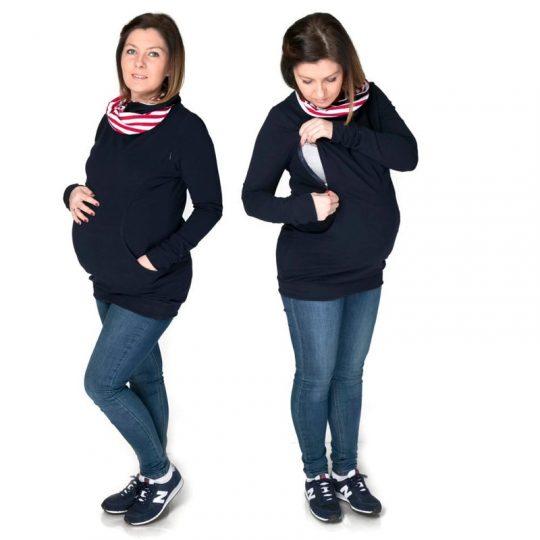 Sudadera embarazo/lactancia Lily - Navy/Red Stripes-