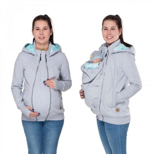 Sudadera embarazo/porteo delante - Pola Grey -