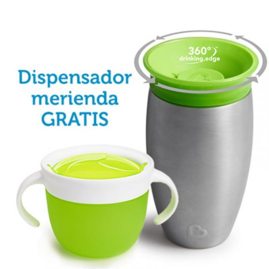 Taza antigoteo Miracle® 360 Acero 295ml + Dispensador merienda GRATIS