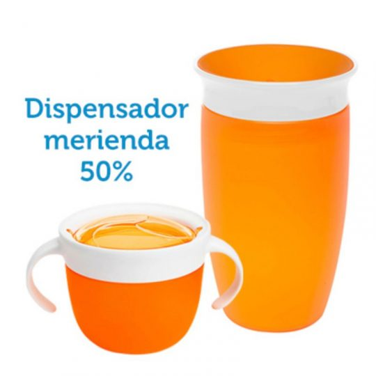 Taza antigoteo Miracle® 360 Naranja 295ml + Dispensador merienda 50% Dto.