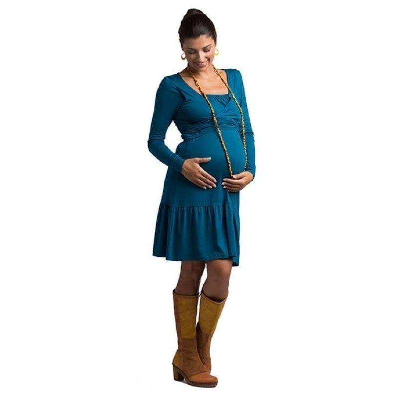 Vestido de embarazo y lactancia modelo Vera, azul, de Árbol de Amor