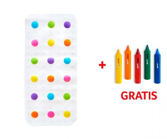 Alfombrilla bañera - Lunares multicolor - + Pinturas bañera GRATIS