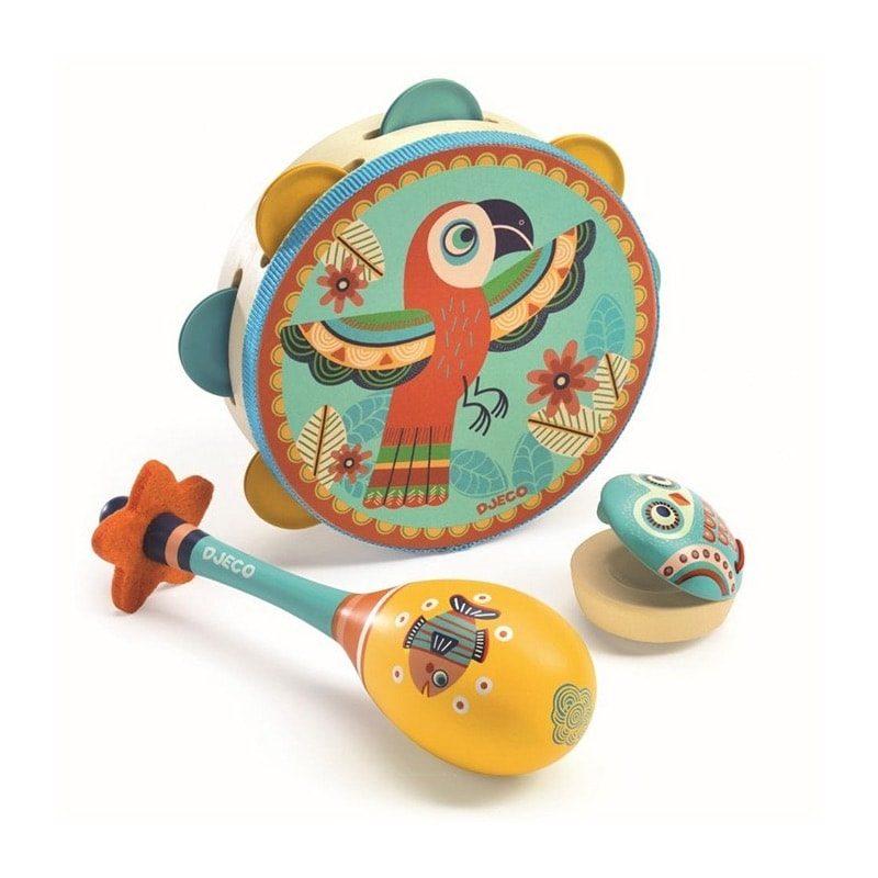Animambo Percusión Set de 3 - Pandereta, castañuela y maraca - Monetes