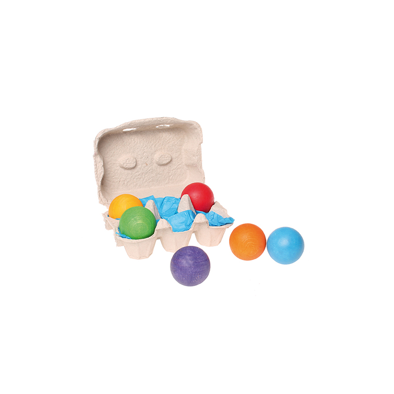 Bolas de madera colores vivos (juego de 6)