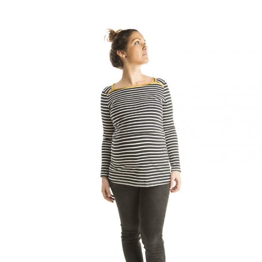 Camiseta de embarazo/lactancia - Mustard Stripes -