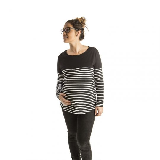 Camiseta de embarazo/lactancia - Office Stripes -