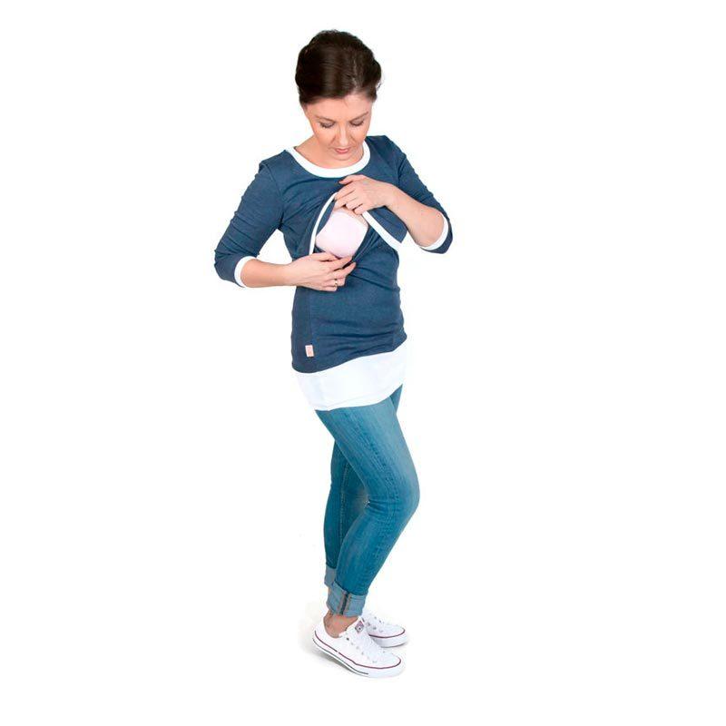 Camiseta embarazo y lactancia Alex - Navy/Blanco -
