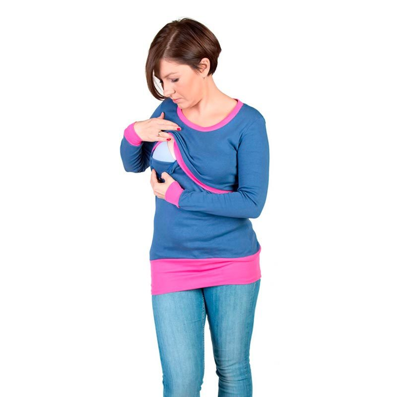 Camiseta embarazo y lactancia Alex - Azul/Rosa -