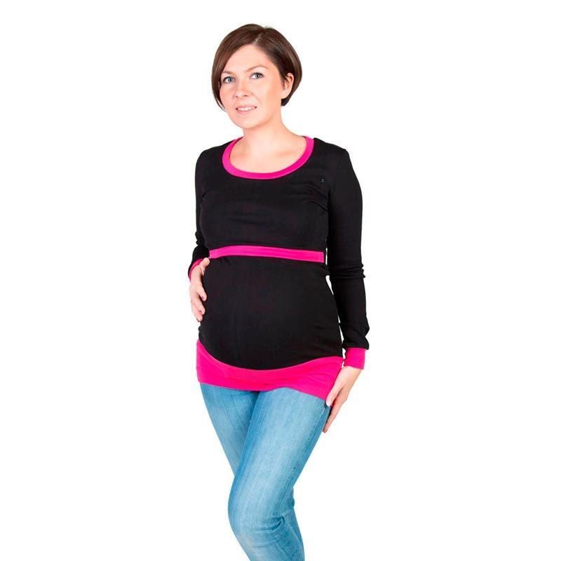 Camiseta embarazo y lactancia Alex - Negro/Rosa -