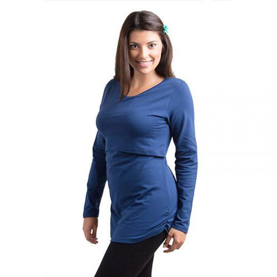 Camiseta básica manga larga Premamá/Lactancia -Azul-