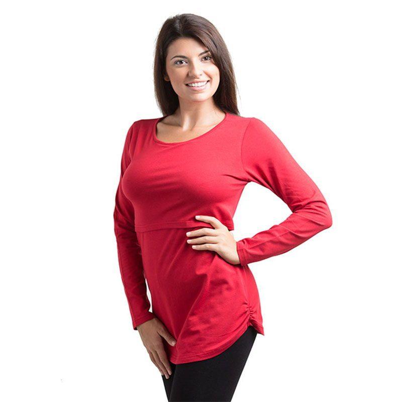 gran calidad brillo de color gran venta de liquidación Camiseta básica manga larga Premamá/Lactancia -Rojo-