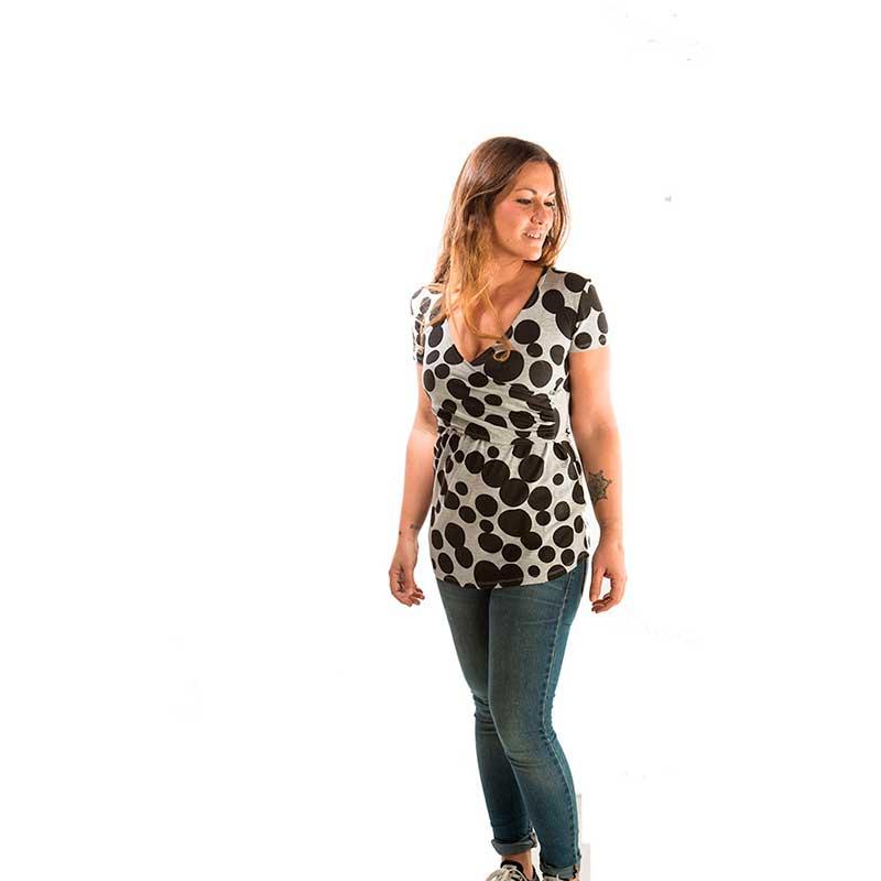 Camiseta premamá y lactancia - Black Dots -