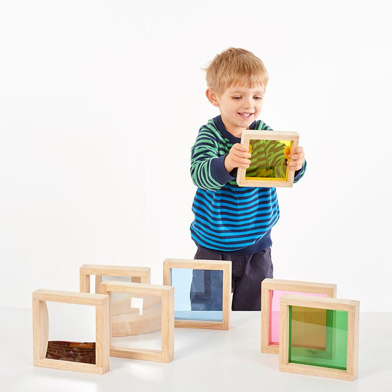 Cuadrados sensoriales variados de madera