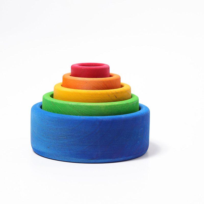 Juego de cuencos de madera colores primarios